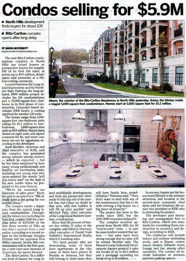 Newsday newspaper clipping about North Hills Ritz-Carlton Residences